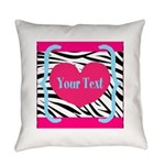 Personalizable Pink Zebra Everyday Pillow