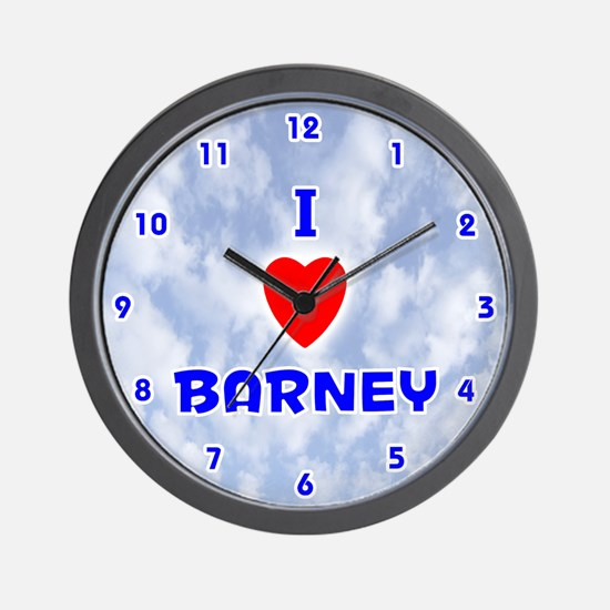 I Love Barney (Blue) Valentine Wall Clock