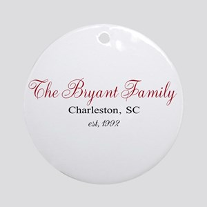 Personalizable Family Black Red Round Ornament