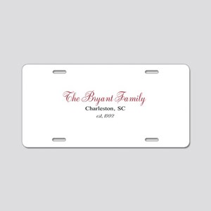 Personalizable Family Black Red Aluminum License P