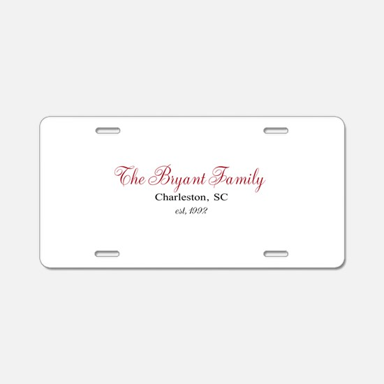 Personalizable Family Black Red Aluminum License P