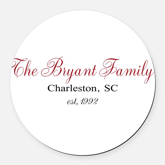 Personalizable Family Black Red Round Car Magnet