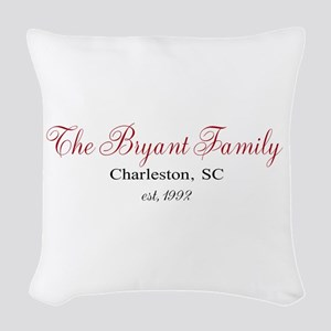 Personalizable Family Black Red Woven Throw Pillow