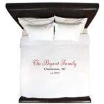 Personalizable Family Black Red King Duvet