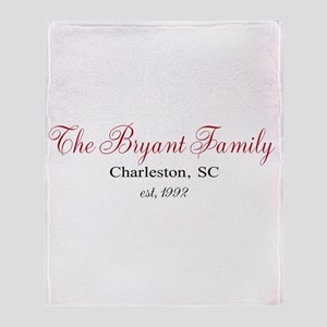 Personalizable Family Black Red Throw Blanket