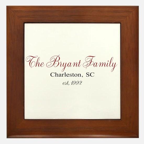 Personalizable Family Black Red Framed Tile