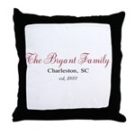 Personalizable Family Black Red Throw Pillow