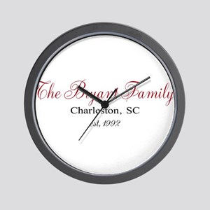 Personalizable Family Black Red Wall Clock