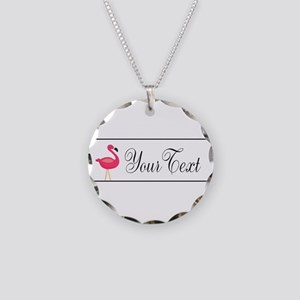Pink Flamingo Personalizable Black Script Necklace