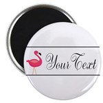 Pink Flamingo Personalizable Black Script Magnets