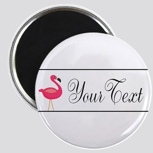 Pink Flamingo Personalizable Black Script Magnets