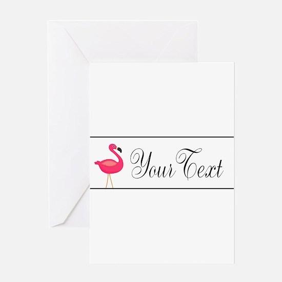 Pink Flamingo Personalizable Black Script Greeting