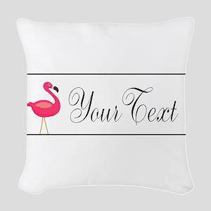 Pink Flamingo Personalizable Black Script Woven Th