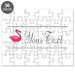 Pink Flamingo Personalizable Black Script Puzzle
