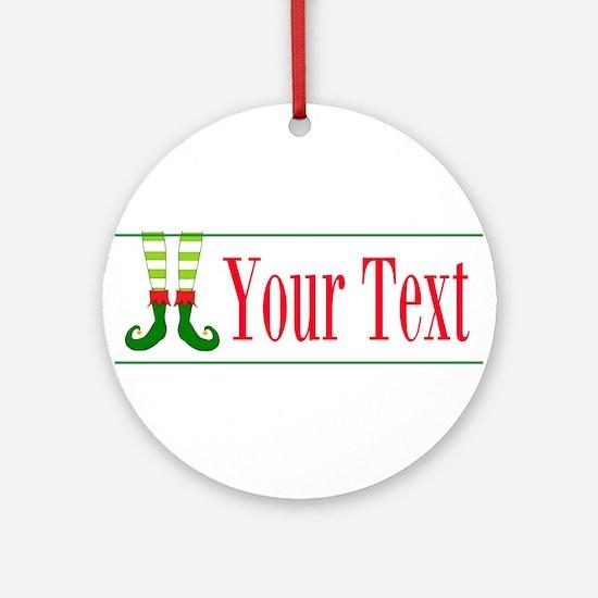 Personalizable Elf Feet Round Ornament