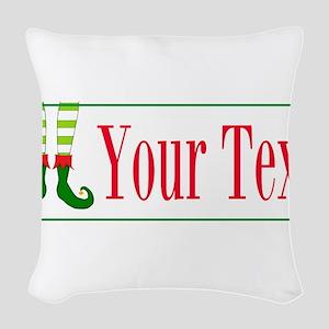 Personalizable Elf Feet Woven Throw Pillow