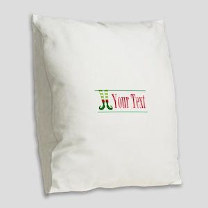 Personalizable Elf Feet Burlap Throw Pillow