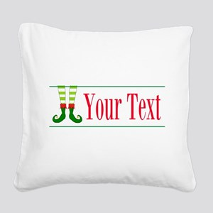 Personalizable Elf Feet Square Canvas Pillow