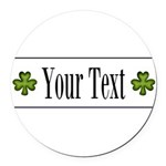 Personalizable Green Shamrock Round Car Magnet