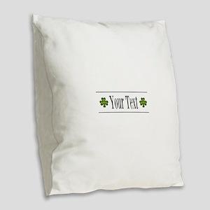 Personalizable Green Shamrock Burlap Throw Pillow
