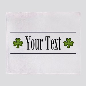Personalizable Green Shamrock Throw Blanket