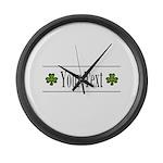Personalizable Green Shamrock Large Wall Clock