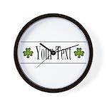 Personalizable Green Shamrock Wall Clock