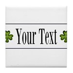 Personalizable Green Shamrock Tile Coaster