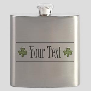 Personalizable Green Shamrock Flask