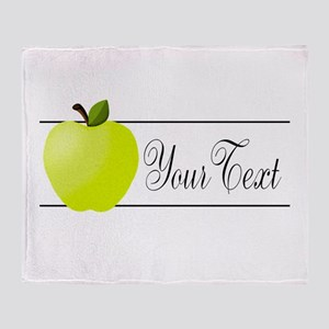 Personalizable Green Apple Throw Blanket
