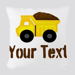 Personalizable Dump Truck Brown Woven Throw Pillow