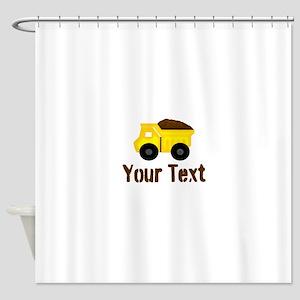 Personalizable Dump Truck Brown Shower Curtain