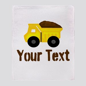 Personalizable Dump Truck Brown Throw Blanket