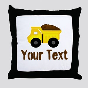 Personalizable Dump Truck Brown Throw Pillow