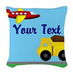Trucks and Planes Woven Throw Pillow