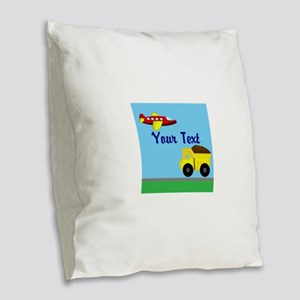 Trucks and Planes Burlap Throw Pillow