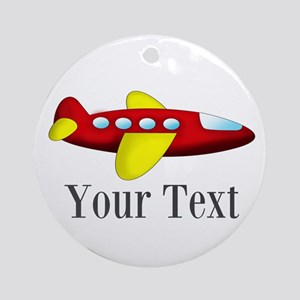 Personalizable Red and Yellow Airplane Round Ornam
