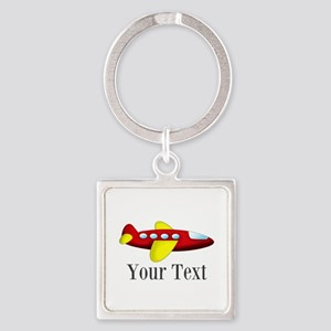 Personalizable Red and Yellow Airplane Keychains