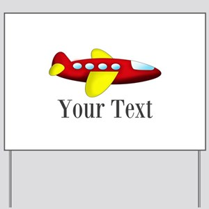 Personalizable Red and Yellow Airplane Yard Sign