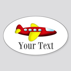Personalizable Red and Yellow Airplane Sticker