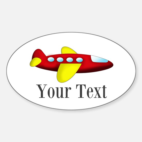Personalizable Red and Yellow Airplane Decal