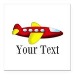 Personalizable Red and Yellow Airplane Square Car