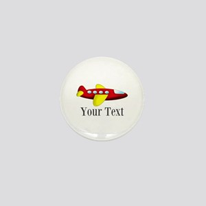 Personalizable Red and Yellow Airplane Mini Button