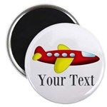 Personalizable Red and Yellow Airplane Magnets