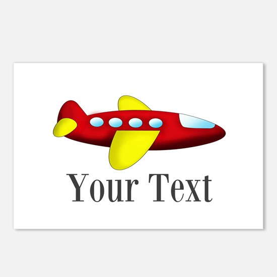 Personalizable Red and Yellow Airplane Postcards (