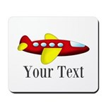 Personalizable Red and Yellow Airplane Mousepad