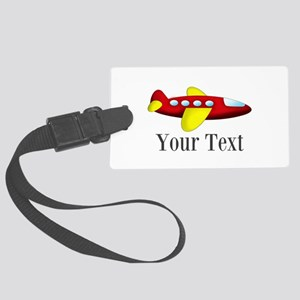 Personalizable Red and Yellow Airplane Luggage Tag