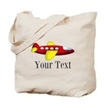 Personalizable Red and Yellow Airplane Tote Bag