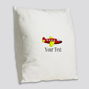Personalizable Red and Yellow Airplane Burlap Thro
