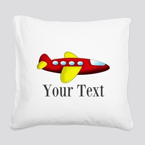 Personalizable Red and Yellow Airplane Square Canv